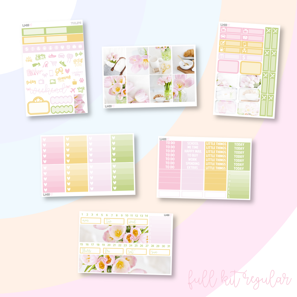 Tulips Vertical Planner Sticker Kit, Spring Sticker Kit