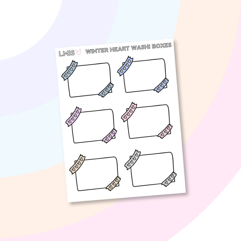Winter Heart Washi Half Box Stickers - Grab these stickers for your planner and let's get to it! - Let's Make It Sparkle