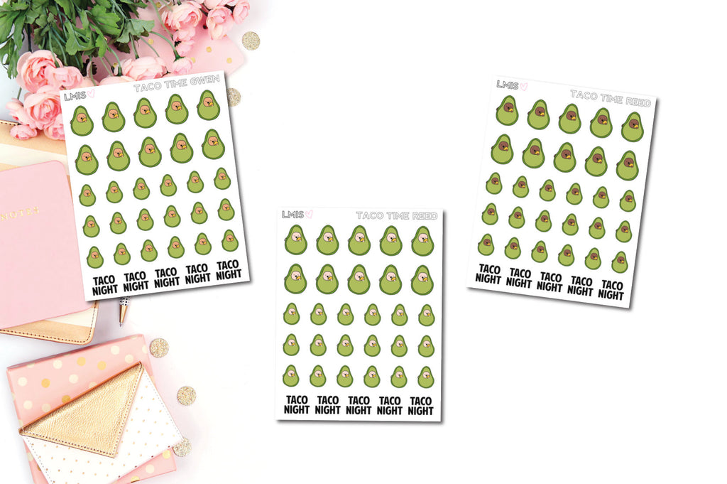 Taco Night AvoBabes Planner Stickers - Grab these stickers for your planner and let's get to it! - Let's Make It Sparkle