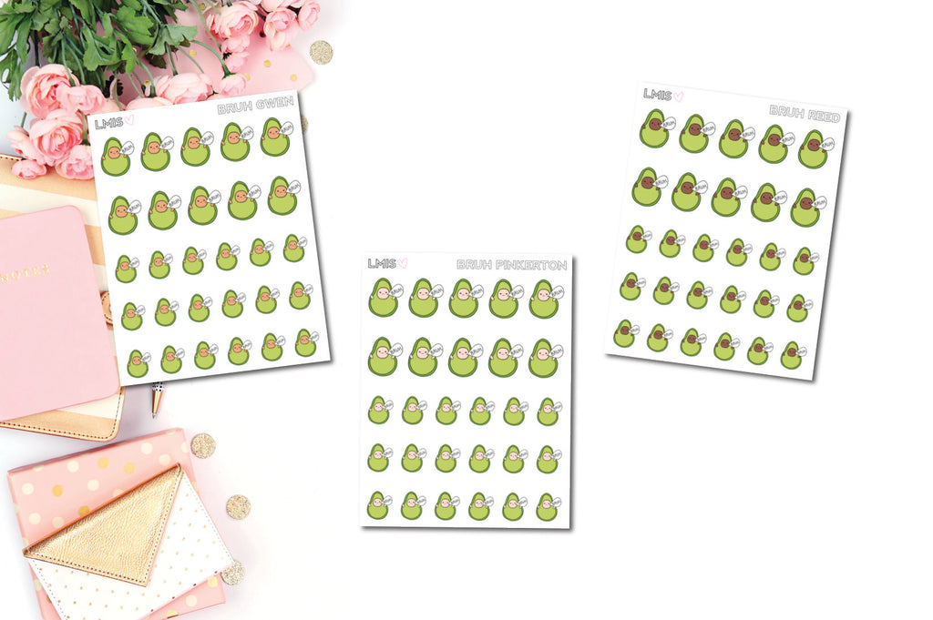 Bruh AvoBabes Planner Stickers, Avocado Planner Stickers - Grab these stickers for your planner and let's get to it! - Let's Make It Sparkle