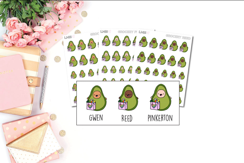Grocery Shopping AvoBabes Planner Stickers - Grab these stickers for your planner and let's get to it! - Let's Make It Sparkle
