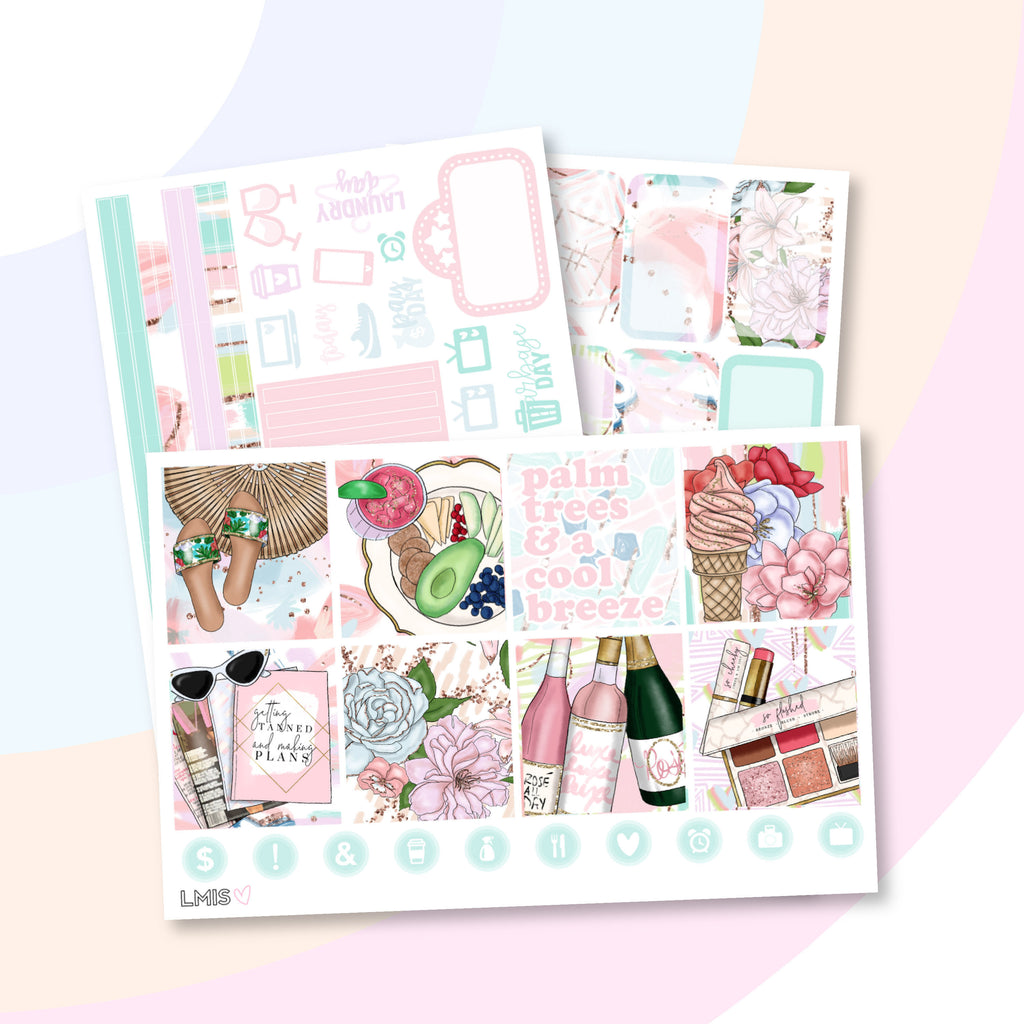 Summer Daze Planner Sticker Kit (Horizontal) - Grab these stickers for your planner and let's get to it! - Let's Make It Sparkle