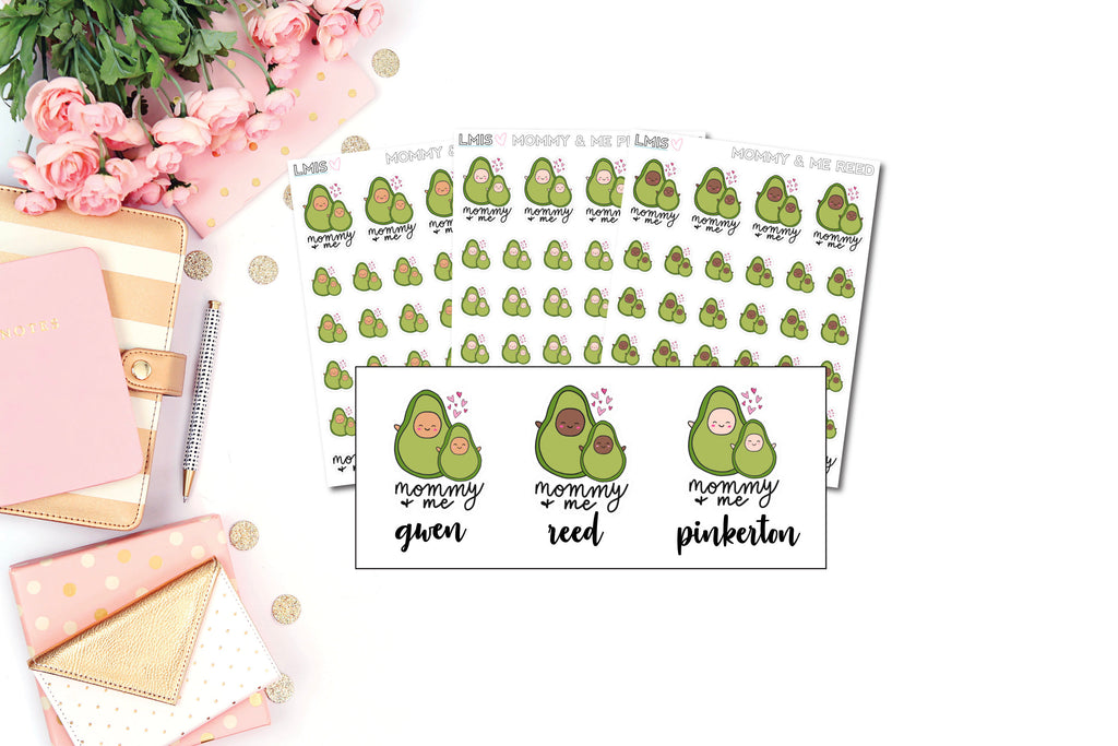 Mommy and Me AvoBabe Planner Stickers, Avocado Planner Stickers - Grab these stickers for your planner and let's get to it! - Let's Make It Sparkle