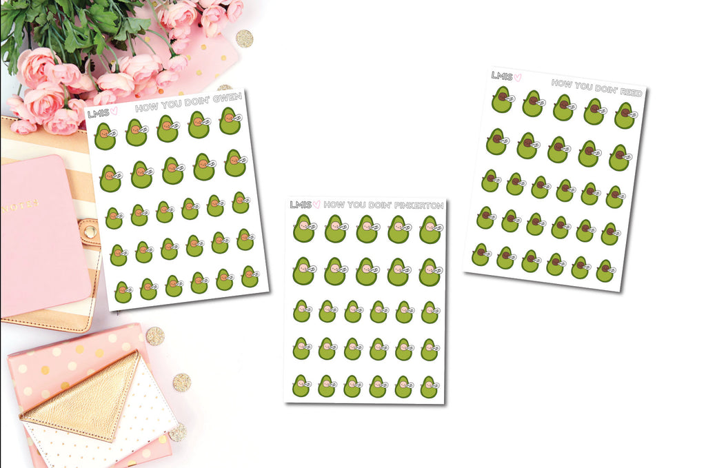 How You Doin' AvoBabes Planner Stickers - Grab these stickers for your planner and let's get to it! - Let's Make It Sparkle