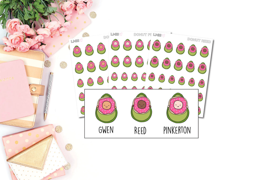 Donut AvoBabes Planner Stickers - Grab these stickers for your planner and let's get to it! - Let's Make It Sparkle