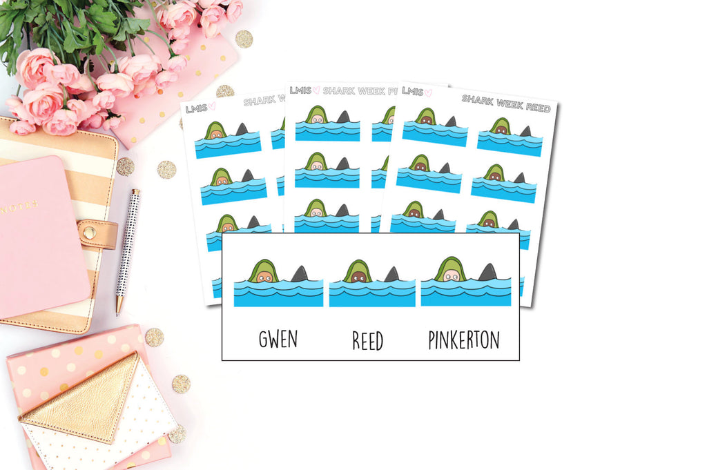 Shark Week AvoBabes Planner Stickers - Grab these stickers for your planner and let's get to it! - Let's Make It Sparkle