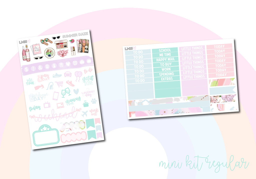 Summer Daze Vertical Planner Sticker Kit - Grab these stickers for your planner and let's get to it! - Let's Make It Sparkle