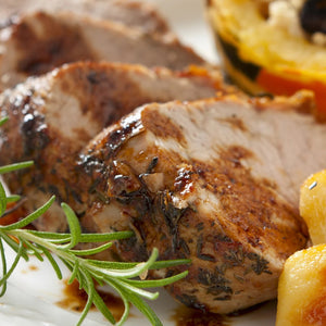 Apple Cider Rosemary Pork Chops with Roasted Apples and Sweet Potatoes