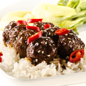 Asian Glazed Meatballs with Rice