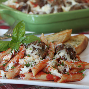 Baked Meatless Meatballs and Cheesy Penne Pasta
