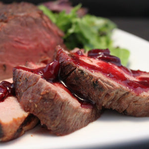 Beef Tenderloin with Cranberry Merlot Sauce