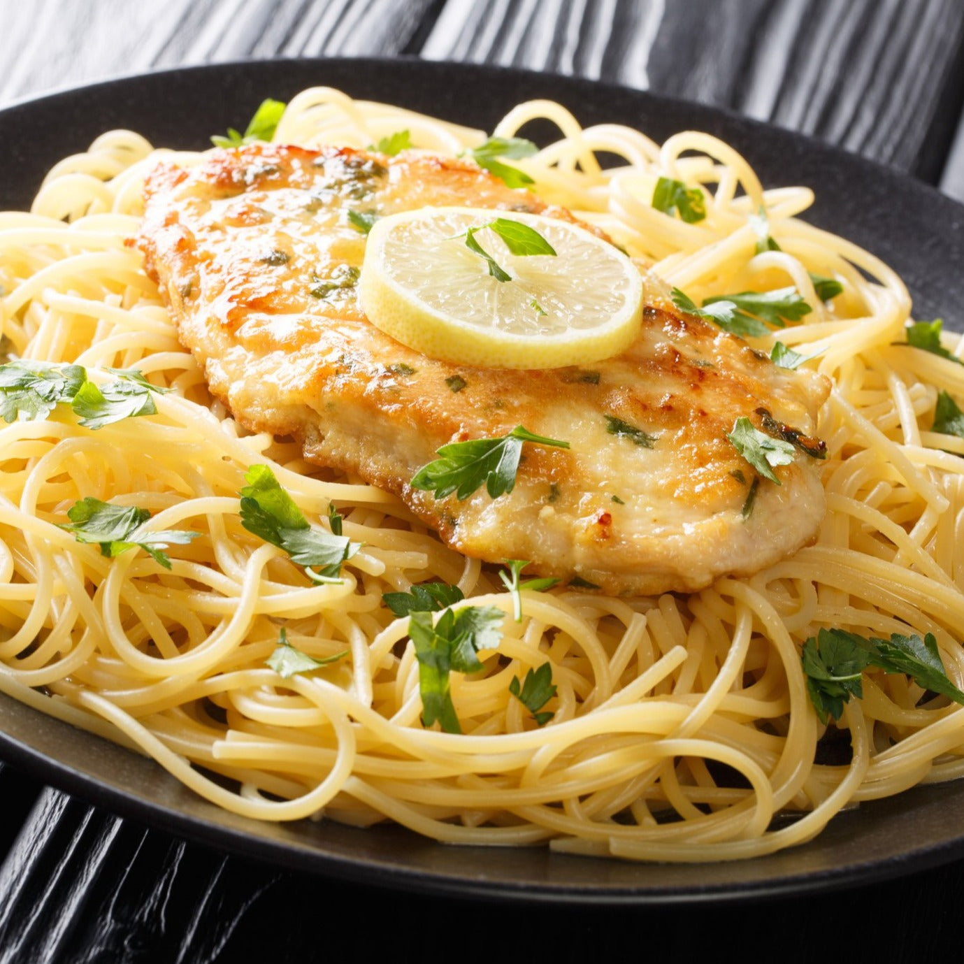 Chicken Francaise with Angel Hair Pasta