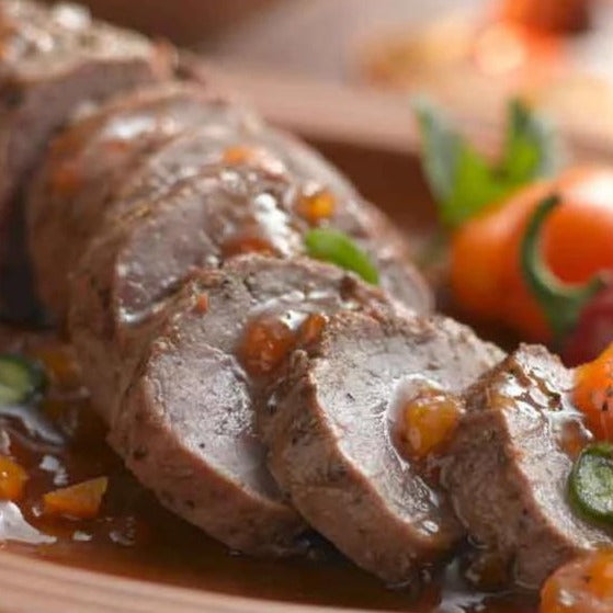Pork Tenderloin with Chile Apricot Glaze and Green Beans