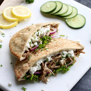 Greek Pork Pitas with Creamy Cucumber Sauce