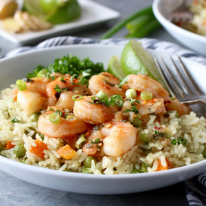 Honey-Ginger Shrimp with Jeweled Rice