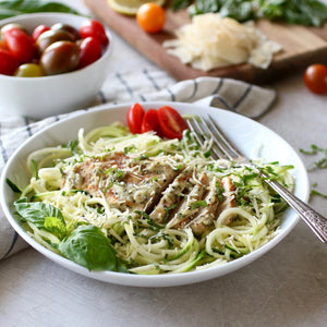Lemon Basil Chicken with Parmesan Zoodles