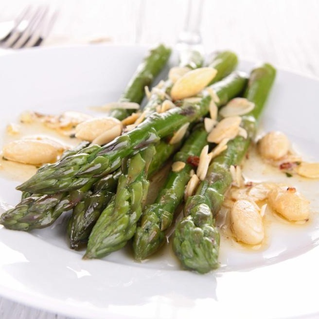 Panko Roasted Asparagus with Almonds