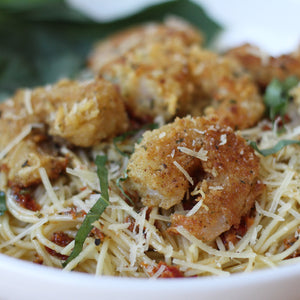 Parmesan Crusted Garlic Shrimp with Angel Hair Pasta