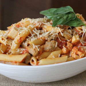 Gluten Free Penne alla Vodka with Chicken and Sausage