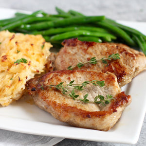 Pork Chops with Three Cheese Potatoes