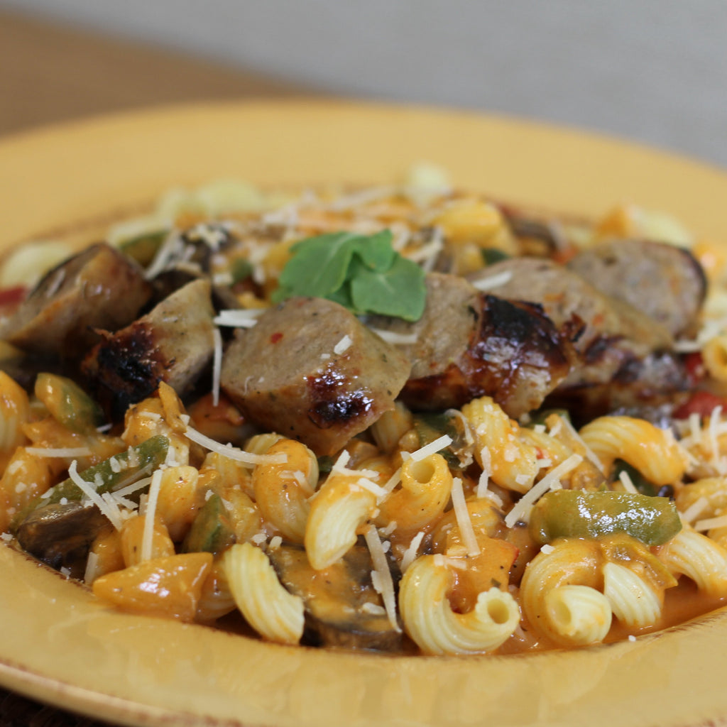 Roasted Red Pepper Pasta with Italian Sausage