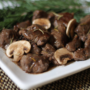 Sauteed Steak Tips and Mushrooms with Rosemary-Merlot Sauce