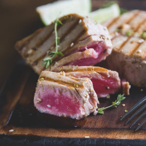 Seared Ahi Tuna Steaks with Stir Fried Vegetables