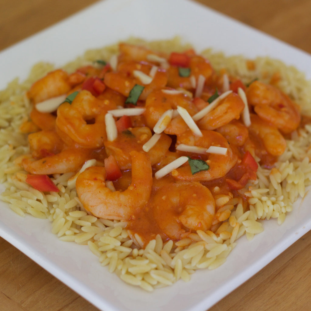 Shrimp Romesco with Orzo