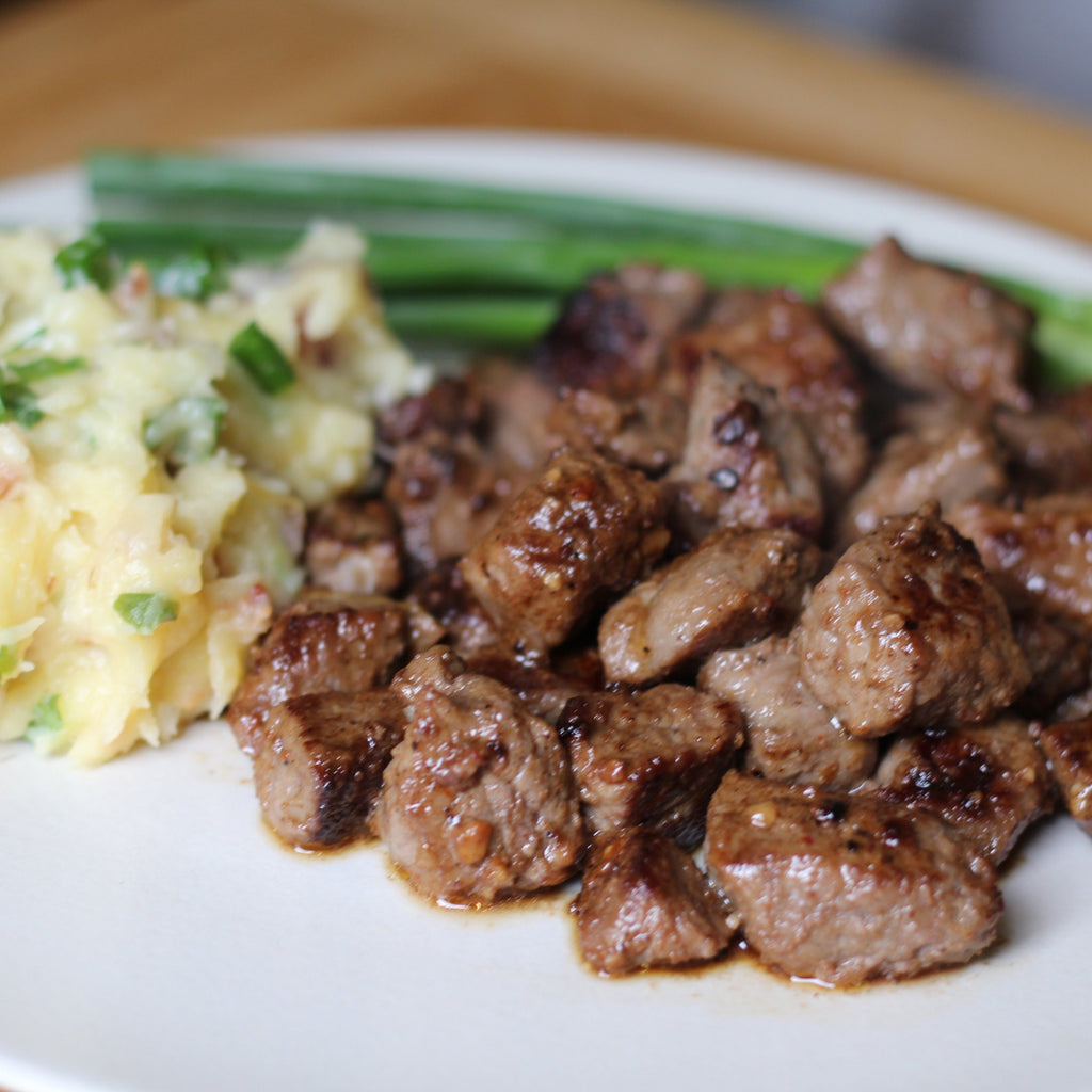Smokehouse Maple Steak Tips with Mashed Potatoes