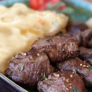 Montreal Steak Tips with Garlic Mashed Potatoes