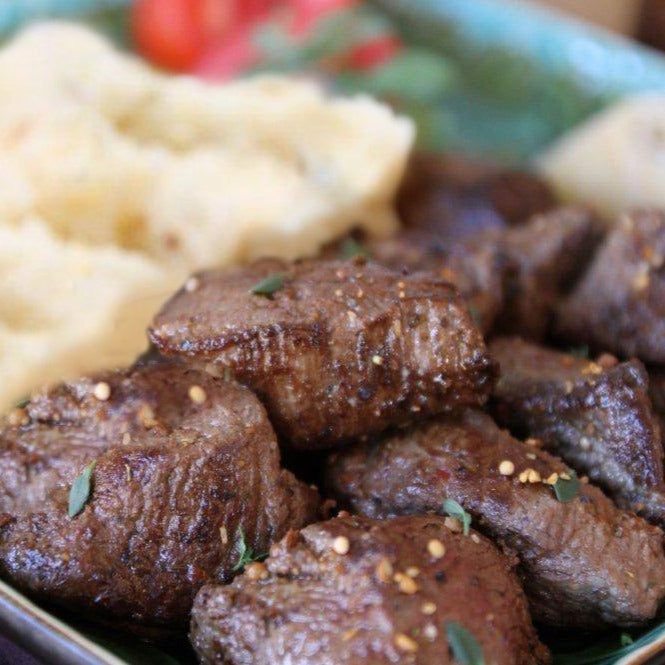 Rosemary-Mustard Steak Tips with Mashed Potatoes