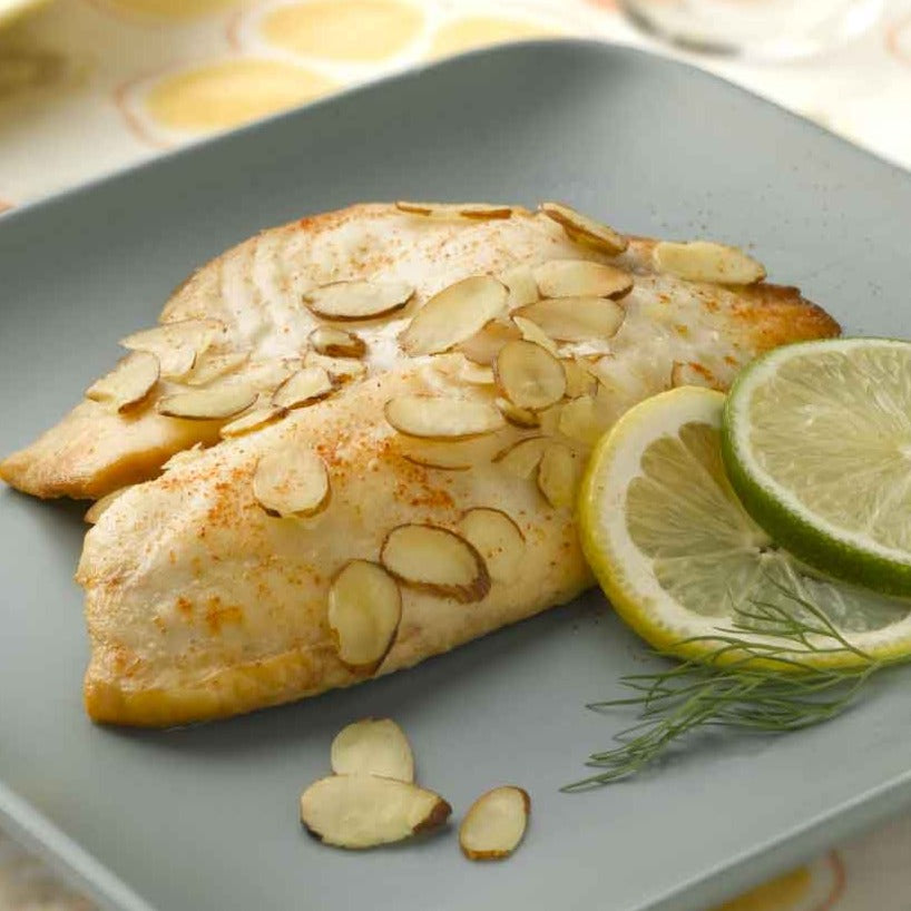 Citrus-Almond Whitefish with Garlic Butter Green Beans