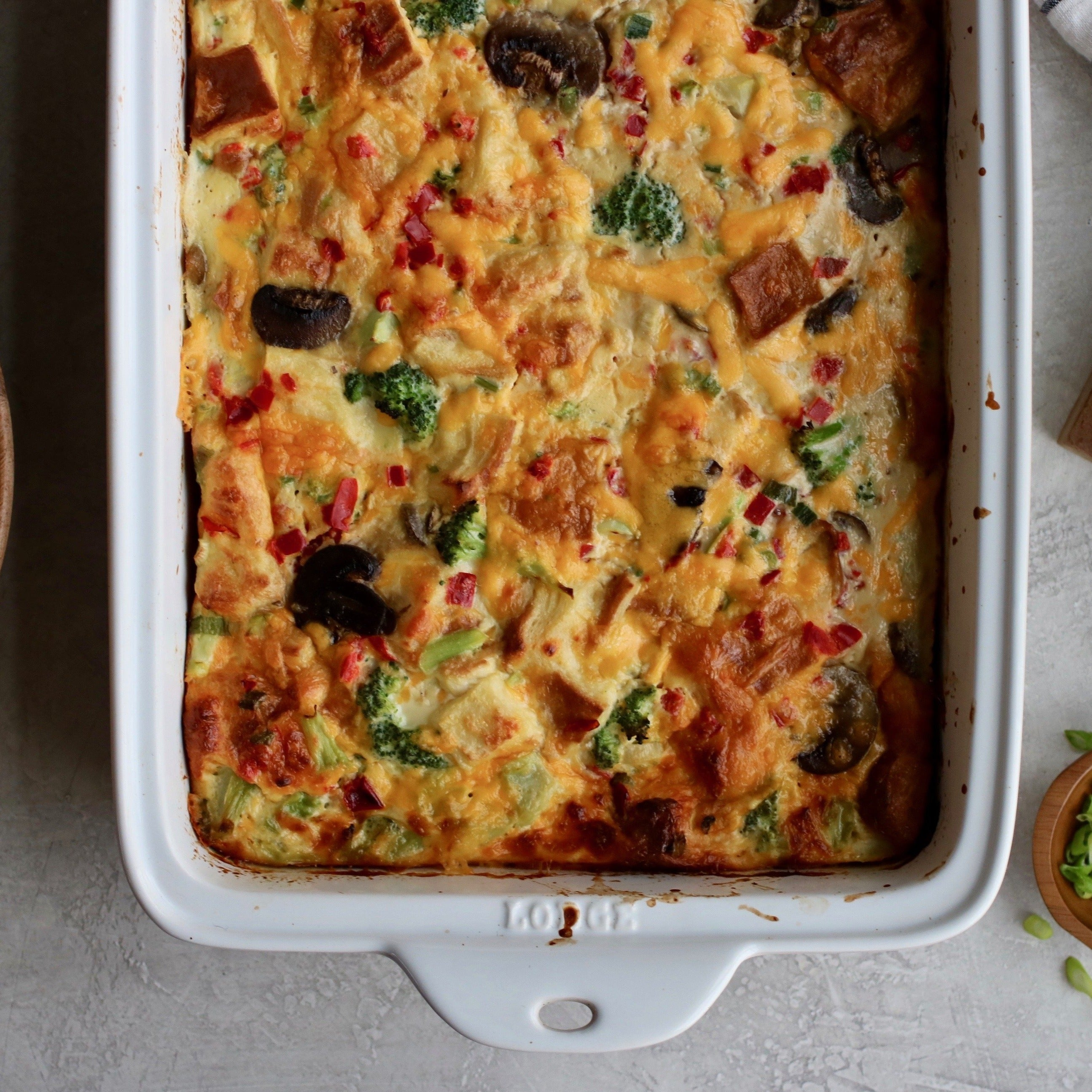 Vegetable, Cheese, and Croissant Egg Bake