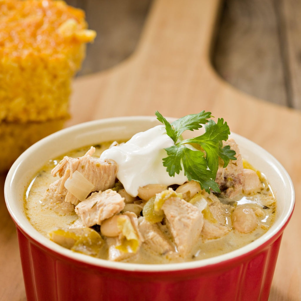 White Chicken Chili with Cheddar-Jack Cornbread