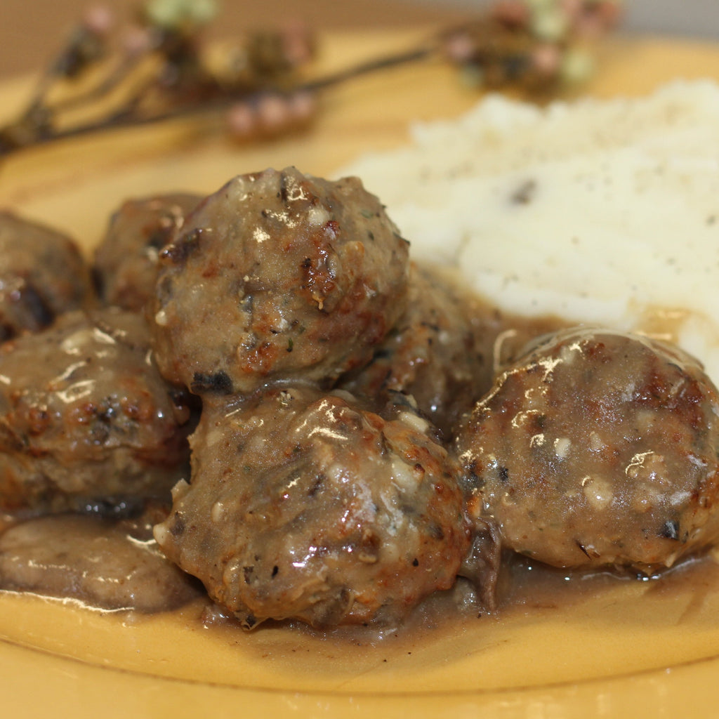 Wild Rice Meatballs with Mashed Potatoes and Gravy