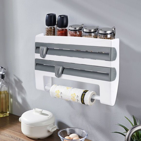 Kitchen Organizer Paper Towel Holder Cling Film Cutting  Holder Sauce Bottle Tin Foil Paper Storage Rack Kitchen Shelf