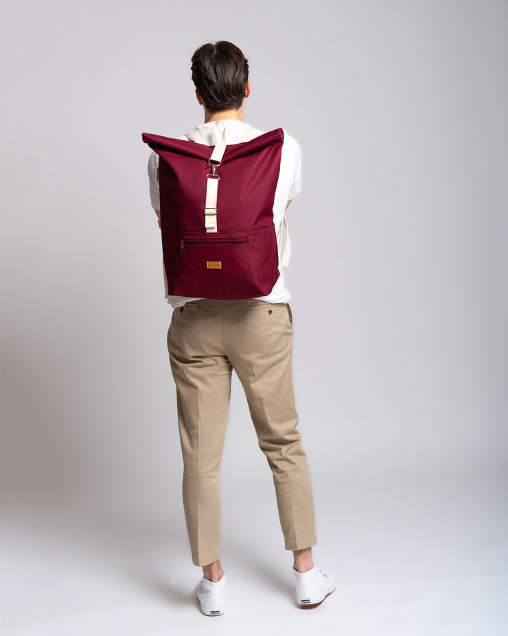 MULINU | Rucksack Messenger Backpack CLASSIC ALBERT M | Bordeaux Front Model