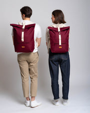 MULINU | Rucksack Messenger Backpack CLASSIC ALBERT M | Bordeaux Front Compare S and M Model