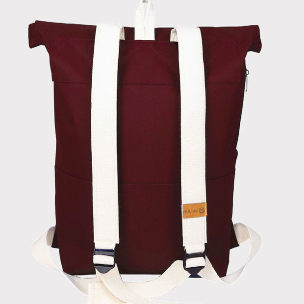 MULINU | Rucksack Messenger Backpack CLASSIC ALBERT M | Bordeaux Back Rückseite