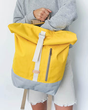 MULINU Rollrucksack ALBERT 2 Gelb Hellgrau Model Laptopfach Shop
