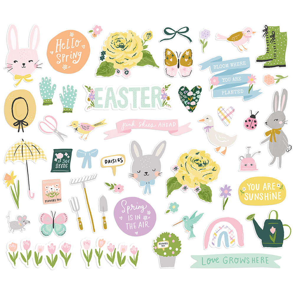 Bunnies & Blooms Bits & Pieces Die Cut Ephemera