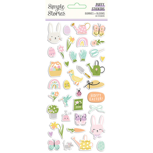 Bunnies & Blooms Puffy Stickers
