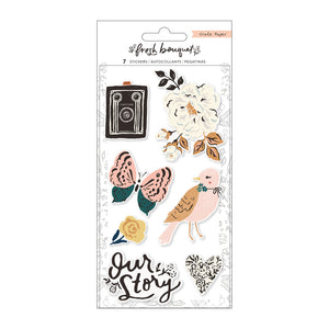 Fresh Bouquet Embossed Puffy Stickers