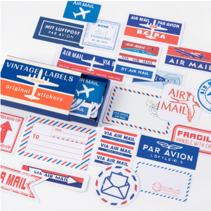 Label Stickers - Vintage Air Mail