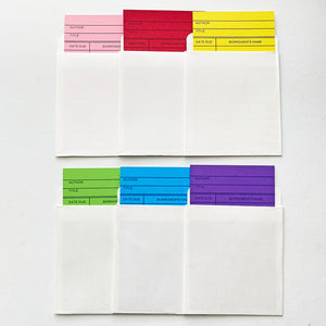 6 Pack Library Book Pockets & Colored Cards - Self Adhesive