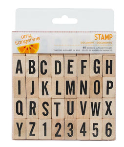 Wood Rubber Alphabet Stamp Set