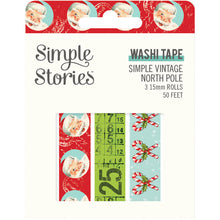 Load image into Gallery viewer, Simple Vintage North Pole Washi Tape Trio