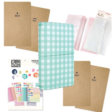 Load image into Gallery viewer, Traveler's Notebook Starter Kit - Teal Gingham