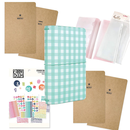 Traveler's Notebook Starter Kit - Teal Gingham