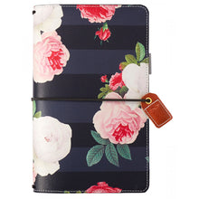Load image into Gallery viewer, Black Floral Traveler's Notebook